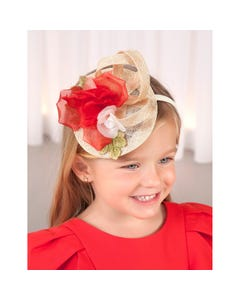 HEADBAND STRAW & RED CHIFFON FLOWER TRIM