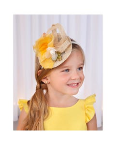 HEADBAND STRAW & YELLOW CHIFFON FLOWER TRIM