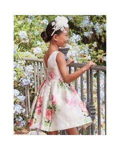 DRESS ROSE CREAM WITH ROSES PRINT TAFFETA