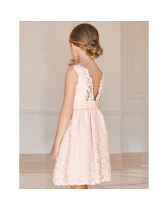 DRESS PEACH FLORAL EMBROIDERED ORGANZA
