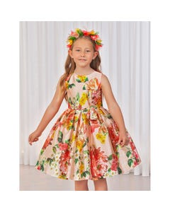 DRESS PEACH & MULTI FLORAL PRINT WITH PLEATS & BOW