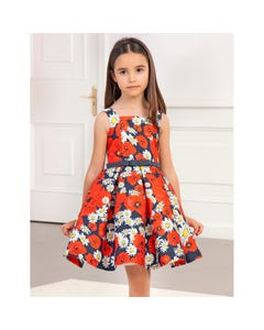 DRESS RED & NAVY & WHITE FLORAL WITH PLEATS