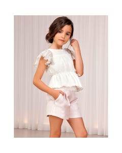 SHORT ROSE JACQUARD LACE WAIST TRIM