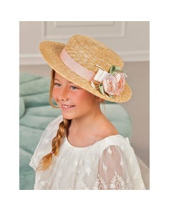 STRAW HAT WITH HEADBAND SALMON FLOWER TRIM