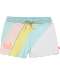 SHORT WHITE WITH STRIPE BLUE SHIMMER WAISTBAND
