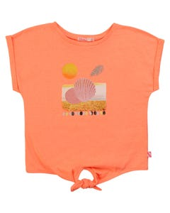TSHIRT PEACH PINK SHELL TIE FRONT SHORT SLEEVE