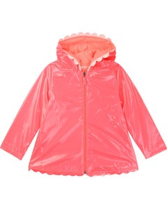 RAINCOAT FUSCHIA HOODED SCALLOPED EDGE TRIM
