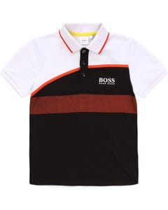 POLO TOP WHITE & BLACK SHORT SLEEVE ORANGE TRIM