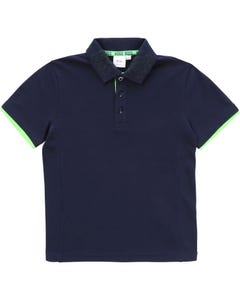 POLO TOP NAVY SHORT SLEEVE GREEN BOSS STITCH
