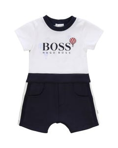ROMPER SHORT WHITE & NAVY BOSS LOGO AND POCKETS