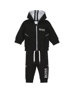 2 PC JOGGING SET BLACK HOODED WHITE LOGO