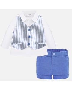 3 PC VEST & SHORT SET STRIPE WHITE & BLUE