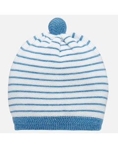 KNIT HAT BLUE WHITE STRIPE PULLON