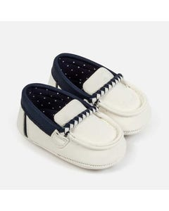SHOE SLIP ON MOCCASINS WHITE NAVY TRIM
