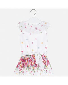 ROMPER WHITE CHIFFON RED FLOWERS SHORT