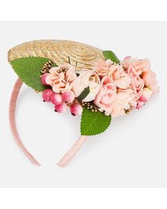 FASCINATOR HEADPIECE PEACH FLOWERS TRIM STRAW