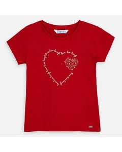 TSHIRT RED SILVER HEART PRINT SHORT SLEEVE