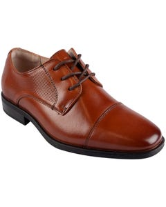 SHOE COGNAC POSTINO CTOX JR LACES SIDE WEAVE PATTERN