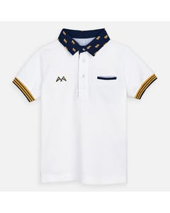 POLO TOP WHITE NAVY COLLAR TIGER PRINT SHORT SLEEVE