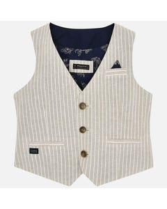 LINEN VEST SAND STRIPE NAVY BLACK 3BUTTON CLOSURE