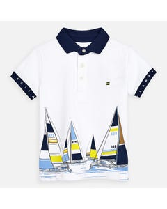POLO TOP WHITE NAVY SAILBOAT PRINT SHORT SLEEVE