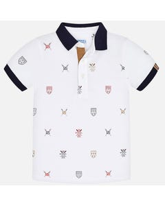 POLO TOP WHITE NAVY COLLAR REGATTA PRINT SHORT SLEEVE