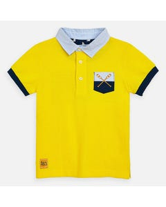 POLO TOP YELLOW BLUE STRIPED COLLAR SHORT SLEEVE NAVY TRIM