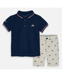 2PC POLO SHORT SET NAVY & BEIGE RACECAR PRINT