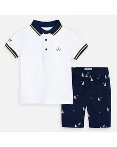 2 PC POLO & SHORT SET WHITE & NAVY SAILBOAT PRINT