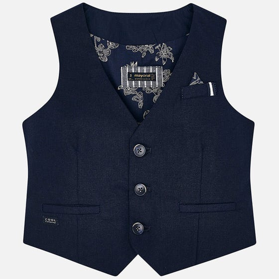 VEST NAVY LINEN 3 BUTTON CLOSURE 2 POCKETS