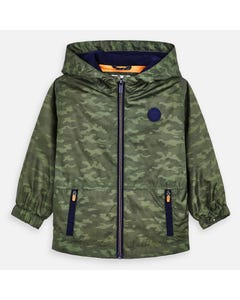 WINDBREAKER GREEN HOODED NAVY TRIM