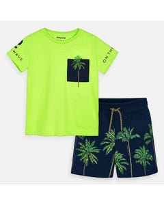 2 PC SHORT SET GREEN & NAVY PALM TREE PRINT