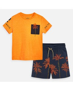 2 PC SHORT SET ORANGE & NAVY PALM TREE PRINT