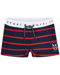 SWIMSUIT NAVY RED STRIPE