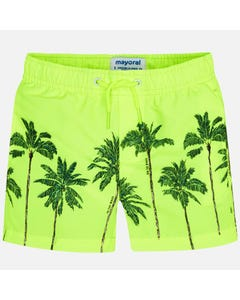 SWIM TRUNK YELLOW GREEN PALM TREES PRINT