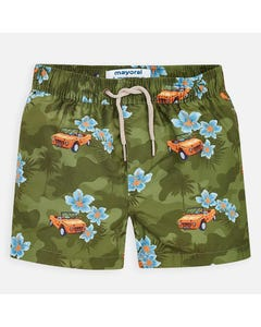 SWIM TRUNK KHAKI CAR & FLOWER PRINT