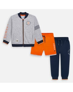 3 PC TRACKSUIT GREY ORANGE NAVY PANT SHORT & CARDIGAN