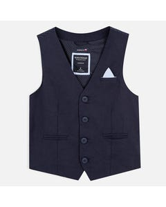 LINEN VEST NAVY 4 BUTTON CLOSURE POCKETS