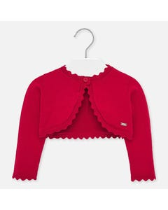 BOLERO CARDIGAN RED SCALLOPED TRIM
