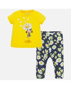 2 PC LEGGING SET YELLOW & NAVY DAISY PRINT