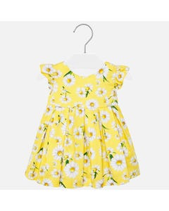 DRESS YELLOW POPLIN DAISY PRINT & PLEATS