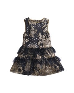 DRESS NAVY & GOLD BROCADE FEATHER TRIM NAVY