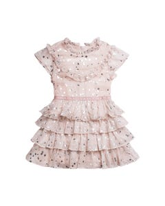 DRESS PINK CHIFFON SILVER SQUARES PRINT FLOUNCES