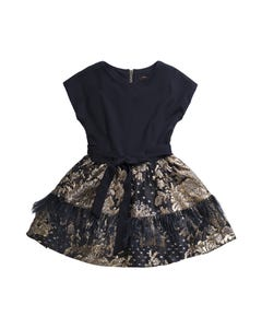 DRESS NAVY BODICE GOLD BROCADE SKIRT & FEATHER TRIM