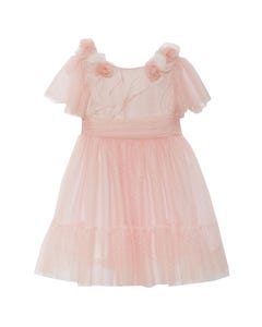 DRESS PINK DOT TULLE & TULLE ROSES TRIM