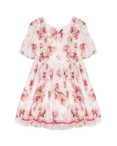 DRESS WHITE & PINK FLORAL PRINT FRILL FRONT TRIM