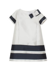 DRESS WHITE & NAVY STRIPE TAFFETA BOW TRIM ALINE