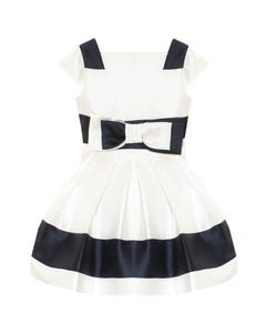 DRESS WHITE & NAVY STRIPE PLEATS & BOW CAP SLEEVE