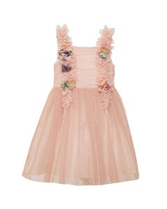DRESS PINK DOT TULLE FRILL & ROSES TRIM H COUTURE