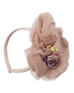 HEADBAND PINK TULLE ROSES H COUTURE